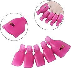 CLAVUZ Soak Off Clips Caps Toenail Uv Gel Polish Remover Wraps Clamp Plastic Acrylic Nail Art Pedicure Tools 5Pcs Toenail-Rose