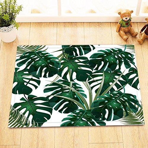 Feuilles de Palmiers Tropical Jungle,Monstera.Floral Motif Blanc,Vert/Décor Tapis de Bain antidérapant Lavable Doux Tapis de Douche,40X60 CM