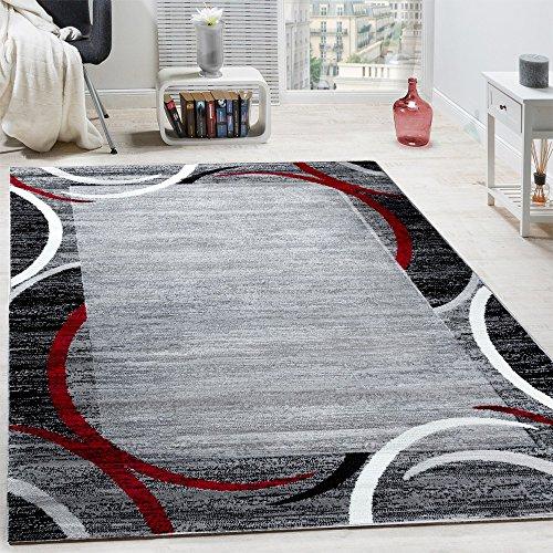Paco Home Wohnzimmer Teppich Bordüre Kurzflor Meliert Modern Hochwertig Grau Schwarz Rot, Grösse:240x340 cm