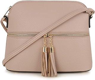 SG SUGU Lightweight Medium Dome Crossbody Bag with Tassel...