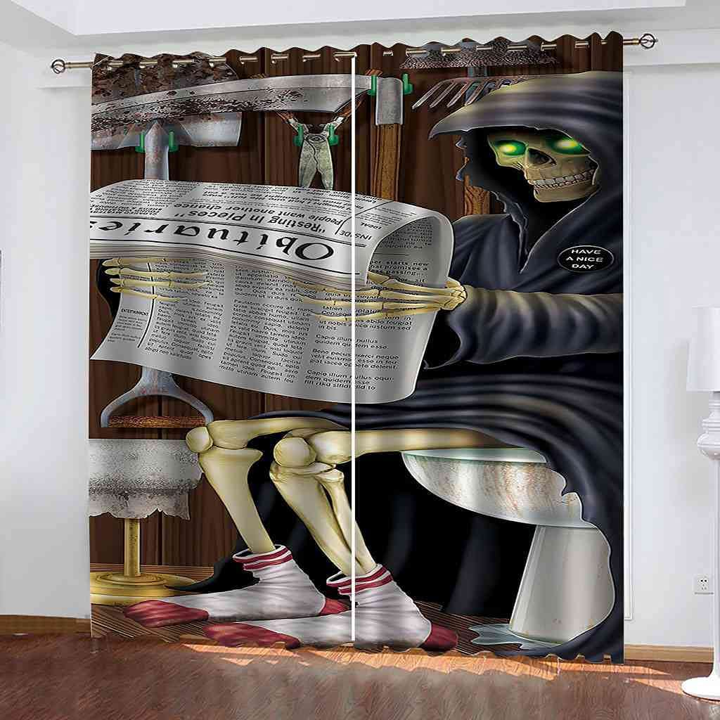 BFYRYL Blackout Curtains Sickle Ranking TOP16 Grim 70% OFF Outlet Bl Printing Reaper 3D Print