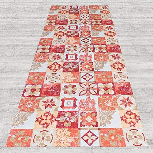 IlGruppone Tappeto passatoia Fantasia Maiolica Rossa Antiscivolo Lavabile Varie Misure - Maiolica Rossa - 50x250 cm