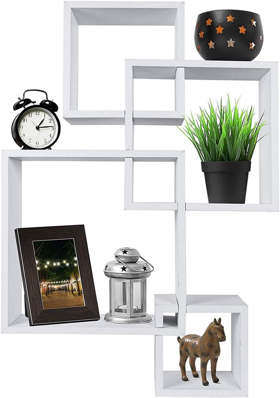 IHADA Set Luxury of 4 Intersecting Decorative Color Fl Wall White Sacramento Mall Shelf