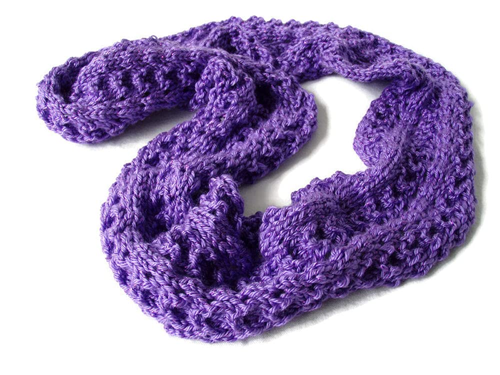 New life Purple Infinity Scarf Knit Warm Neck Industry No. 1 Circle Warmer Metallic Soft
