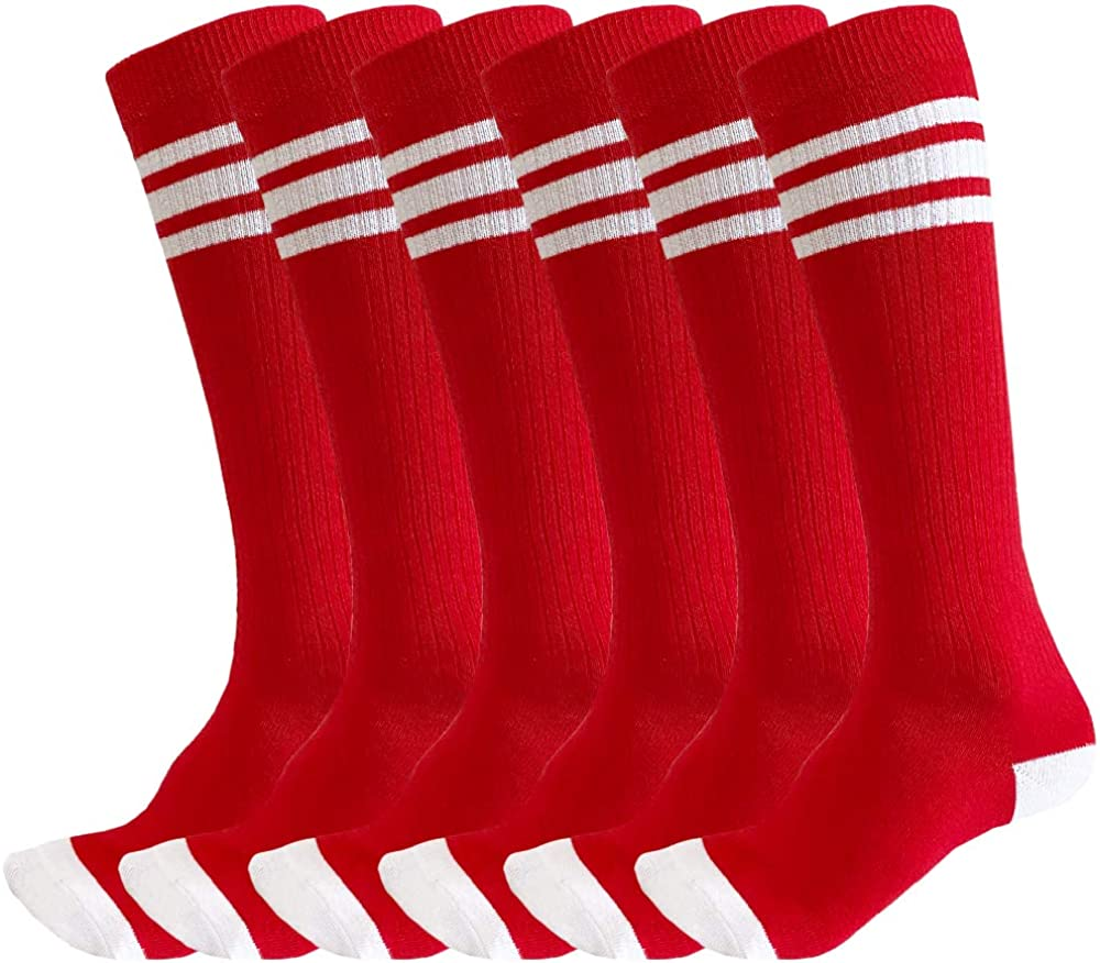 3 Pairs of juDanzy Knee High Boys or Girls Triple Stripe Tube Socks for Soccer, Basketball, Uniform and Everyday Wear