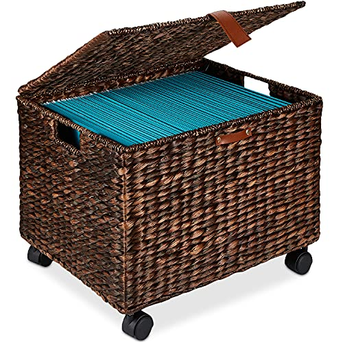 Best Choice Products Water Hyacinth Rolling Filing Cabinet, Woven Mobile Storage Basket, Portable File Organizer for Legal & Letter Size Memos w/Lid, 4 Locking Wheels - Brown