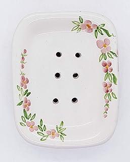 Portasapone con Scolo Linea Fiori Ceramica Realizzato e dipinto a mano Le Ceramiche del Castello Made in Italy