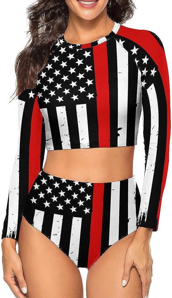 CHILL·TEK Swimsuits Firefighter American Flag Women's Rashguard Long Sleeve UV Rays Protect Wetsuit Two Piece Tankini Sets