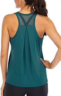 Fihapyli Workout Tops for Women Loose fit Racerback Tank Tops for Women Mesh Backless Muscle Tank Running Tank Tops