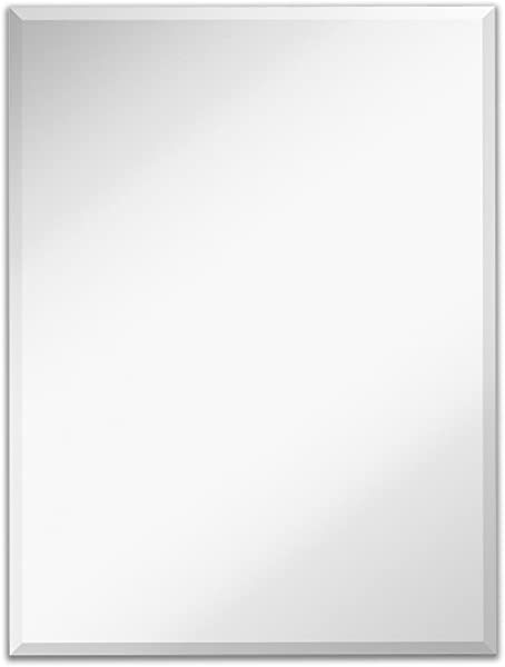 Large Simple Rectangular Streamlined 1 Inch Beveled Wall Mirror Premium Silver Backed Rectangle Mirrored Glass Panel Vanity Bedroom Or Bathroom Hangs Horizontal Vertical Frameless 30 W X 40 H