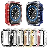 [8-Pack] RICHONE Bling Case Compatible with Apple Watch SE Series 6 5 4 40mm, Double Row Diamonds Cover with 3D Tempered Glass Screen Protector Bumper (8 Colors, 40mm)