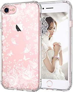 MOSNOVO iPhone 7 Case, iPhone 8 Slim Case, White Roses Garden Floral Printed Flower Clear Design Plastic Back Hard Case with TPU Bumper Protective Case Cover for iPhone 7 / iPhone 8