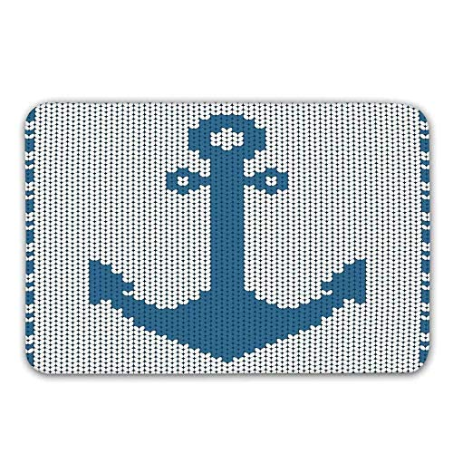 LIS HOME rutschfeste Fußmatte, Gestrickte Handarbeitsstich-Art-Digital-Anker-Entwurfssicherheit im Seeikonen-Druck-Fußmatte für Haustür-Innenbadmatte