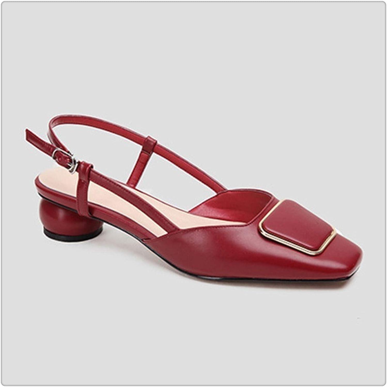 KKEPO& Square Toe Shallow Pu Leather Buckle Strap StrangeHigh Heels Sandals Women