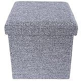 SONGMICS 38 x 38 x 38 cm Baúl Puff Taburete para almacenaje Plegable Carga máxima de 300 kg Tejido Lino Imitado Antracita LSF27H