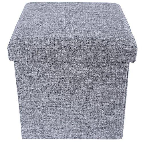 SONGMICS Faltbarer Sitzhocker Belastbar bis 300 kg leinen, hellgrau, 38 x 38 x 38 cm, LSF27H