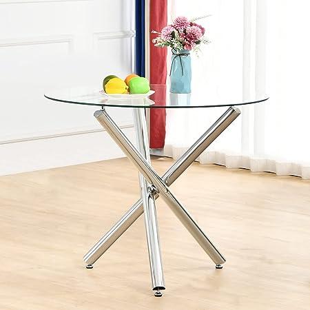 Table à Manger Ronde, SHEEPPING Table de Cuisine Moderne Table Verre à Manger et Pieds en Métal, 90 x 90 x 75 cm
