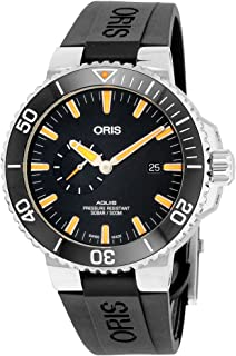 Aquis Small Second Date Mens Stainless Steel Automatic Diver Watch - 45mm Analog Black Face 500M Waterproof Dive Watch - Black Rubber Band Swiss Luxury Diving Watch For Men 74377334159