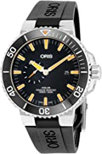 Oris Aquis Small Second Date Mens Stainless Steel Automatic Diver Watch - 45mm Analog Black Face 500M Waterproof Dive Watch - Black Rubber Band Swiss Luxury Diving Watch For Men 74377334159