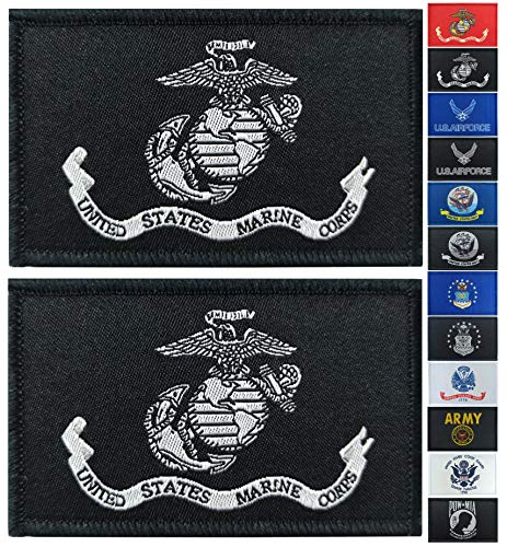 JBCD 2 Pack Black US Marine Corps Flag Patch Army Force Flags Tactical Patch Pride Flag Patch for Clothes Hat Patch Team Military Patch