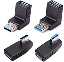 USB 3.0 Adapter Couplers 90 Degree Male to Female,USB Connector Extender Plug Coupler Extender 4PCS (Including Left,Right Up,Down Angle Adapter)