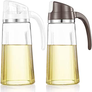 Auto Flip Olive Oil Dispenser Bottle,20 OZ Leakproof Condiment Container With Automatic Cap and Stopper,Non-Drip Spout,Non-Slip Handle for Kitchen Cooking (2 Pack White+ Brown)