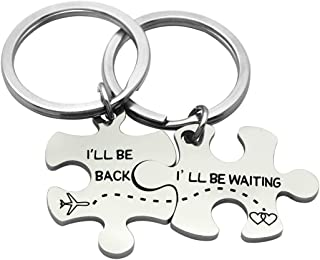 Meibai Puzzle Piece Keychains I'll be Back I'll be Waiting Long Distance Relationship Going Away LDR Gifts