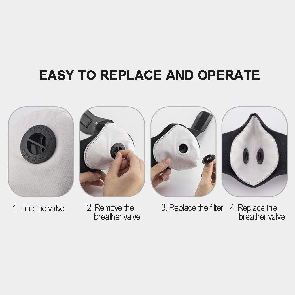 Skang 2 PCS Facial Tela con Válvulas de Respiración + 12 PCS Filtros de Repuesto de Carbón Activo - 3 Capas - Color Negro