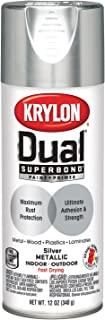 Krylon K08846007 'Dual' Superbond Paint and Primer Metallic Finish, Silver, 12 Ounce