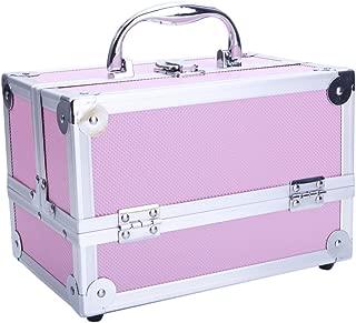 Aluminum Makeup Train Case Jewelry Box Cosmetic Organizer with Mirror Organizer Lipstick Jewelry Display Storage Box Pink