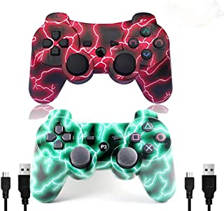 [2 Pack] Wireless Double Vibration Game Controller Bluetooth Gamepad Remote for PS3 Playstation 3 [Gift 2 Charging-Cable] ...