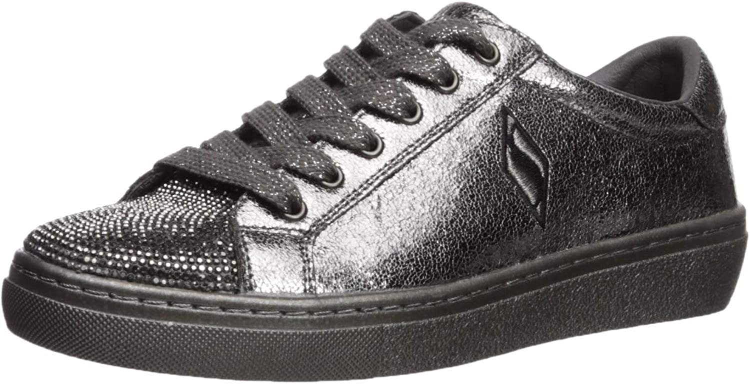 Skechers Womens goldie - No Place Like Chrome. Tonal Metallic Rhinestone Toe Sneaker Sneaker