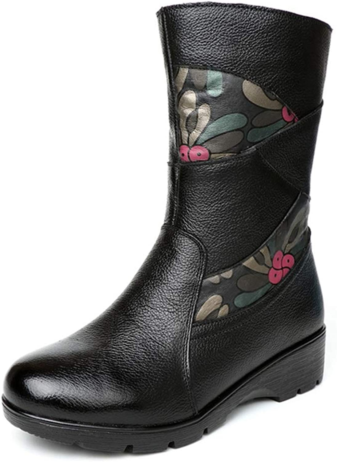 GIY Women's Floral Mid Calf Boots Retro Round Toe Zipper Wedge Low Heel Winter Warm Wide Calf Riding Boots