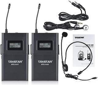 UHFワイヤレス(トランスミッタ+レシーバ) 範囲100m選択可能な6チャンネルLCDディスプレイ/ラバリアーマイクイヤホン/ 3.5mm~3.5mm変換
