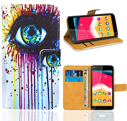 FoneExpert® Wiko Rainbow Jam Handy Tasche, Wallet Hülle Flip Cover Hüllen Etui Ledertasche Lederhülle Premium Schutzhülle für Wiko Rainbow Jam