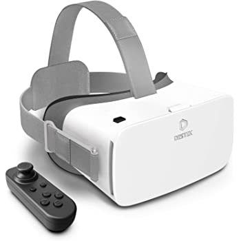 DESTEK V5 VR Headset, 110°FOV Anti-Blue Light Eye Protect HD Virtual Reality Headset for iPhone 12/11/Pro/X/XR/Max,w/Bluetooth Controller for Samsung S20/Note 10/9/Plus,Phones w/4.7-6.8in Screen White