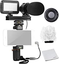 Movo Smartphone Video Rig Kit V7 with Grip Rig, Pro Stereo Microphone, LED Light and Wireless Remote - YouTube Equipment for iPhone 5, 5C, 5S, 6, 6S, 7, 8, X, XS, XS Max, 11, 11 Pro, Samsung Galaxy