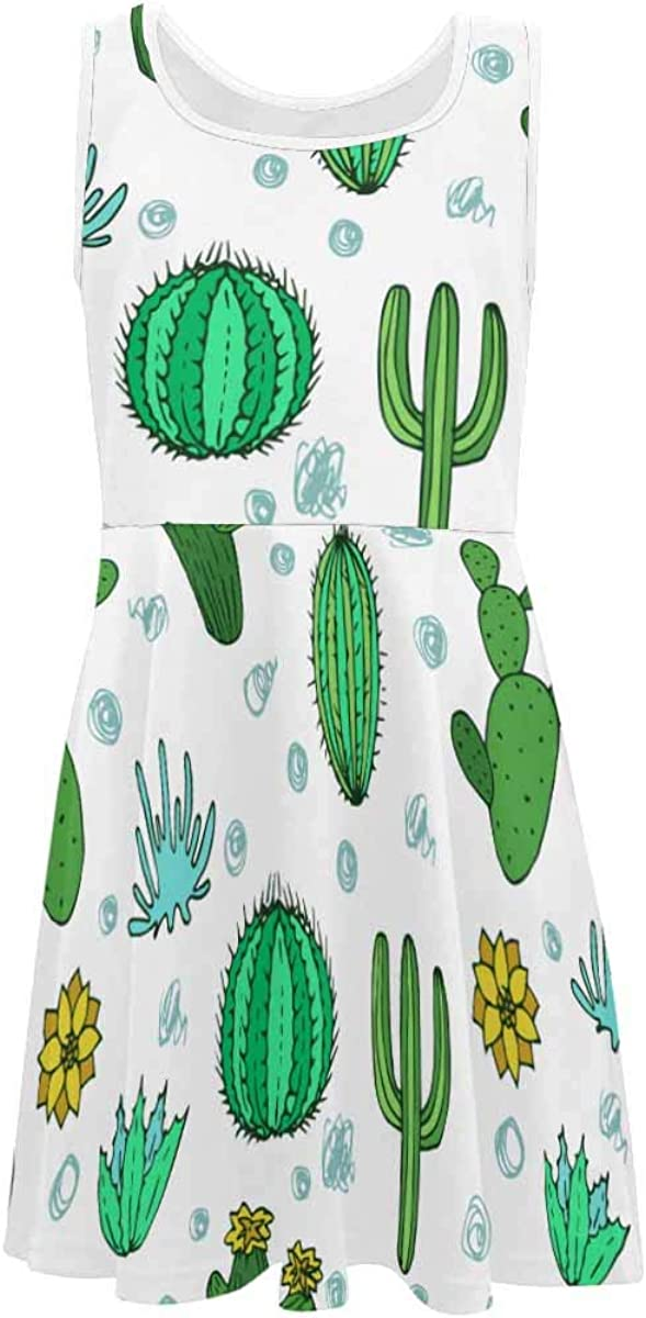 INTERESTPRINT Girls Casual Crew Neck Sleeveless Dress A-Line Party Dress for 4-13 Years Cactuses Pattern 4T