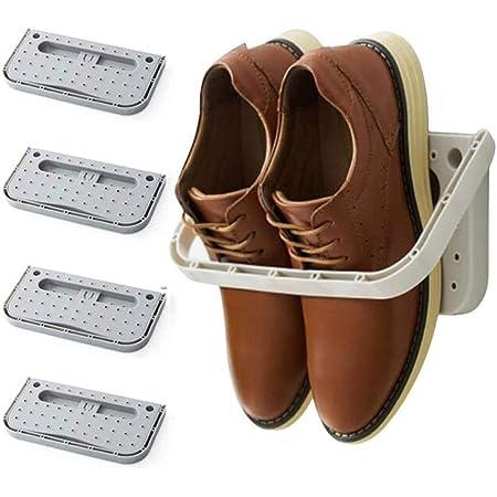 4 Pack Hanging Plastic Shoe Rack Wall Mount Creative Folding Organizer Camper Shoes Storage Shelf Adhesive Shoe Holder For Door