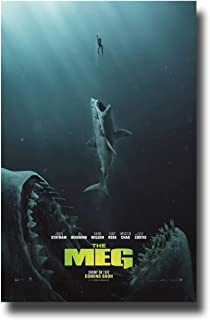 bribase shop The Meg Poster Movie Promo 2018 36 x 24 inches Megalodon Bites