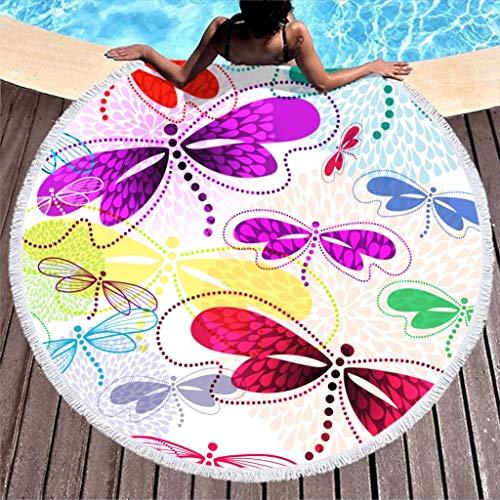 AEMAPE Libélula Toalla de Playa Manta de Playa de Microfibra Grande Redonda con borlas Manta de Picnic Manta de Playa Tapiz de Tela de Mesa 59 Pulgadas