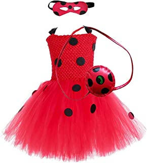 IZKIZF Girls Ladybug Costume Tutu Dress Carnival Halloween Party Cosplay Fancy Dress Up Outfits 2-8T