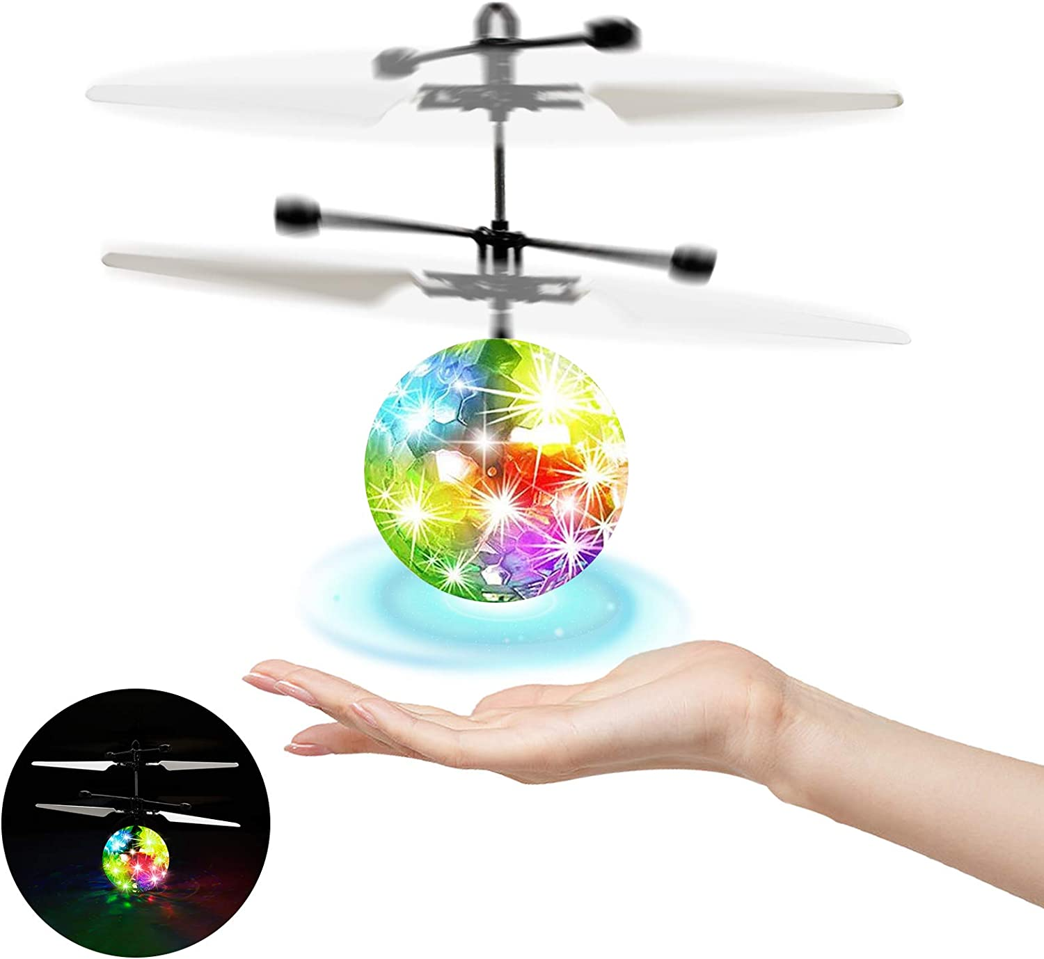 Flying Ball Kids Toys Flying Toys for Kids Hand Control LED Disco Lights RC Flying Drone Toys for Boys Girls 7 8 9 10 11 12 Birthday Indoor Outdoor Rechargeable
