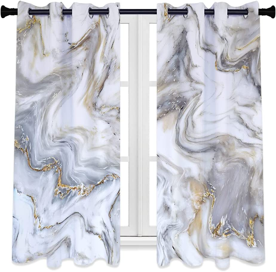 Popular brand in the world QIYI Grey Marble Blackout Window Gold Panels Gray Curtain Challenge the lowest price White