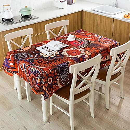 XXDD Mantel de Lino Impermeable con patrón de costumbres étnicas africanas, Mantel Decorativo para el hogar, Cocina, Hotel, Escritorio, A2 140x200cm
