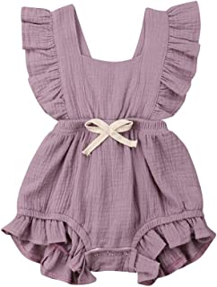 Weixinbuy Toddler Baby Girl's Sleeveless Ruffled Collar Romper Overall Jumpsuit Clothes