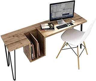 Stylish and Modern Writing Computer Desk with File Cabinet, Simple Study Desk Industrial Wrought and Iron Style Table for Home Office Notebook Desk Meal Prepping Desk (L:43.30