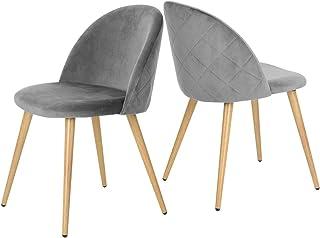 Muele Cosy Zomba Diamond Grey – Juego de 2 sillas de Comedor de Terciopelo Gris, Silla de Oficina ergonómica, Patas de Metal con Acabado en Madera, 49 x 53 x 77,5 cm
