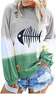 Women's Hoodie Gradient Print Pullover Top Hoodie Long Sleeve Sweatshirt Casual Pullover Tunic Sweater Comfy LIM&Shop