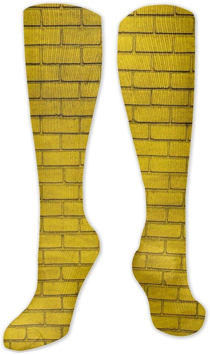 Wall Brick Yellow Paint Knee High Socks Leg Warmer Dresses Long Boot Stockings For Womens Cosplay Daily Wear